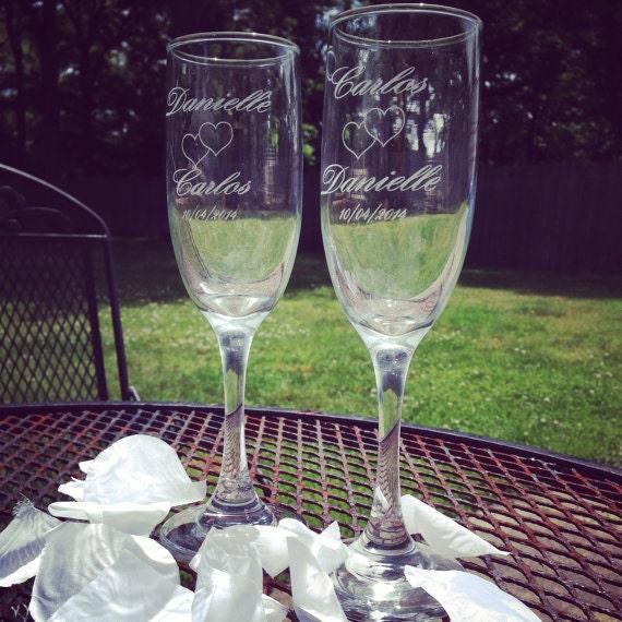 Set of 2 Laser Engraved Champagne Flutes