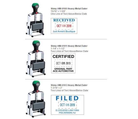 Shiny Heavy Metal Dater Self-Inking Stamps