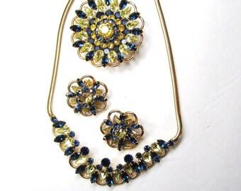Vintage 50s Kramer of New York Parure, Rhinestone Sapphire Blue & Citrine Yellow, Necklace, Brooch Pin + Earring Set, Signed Kramer NY