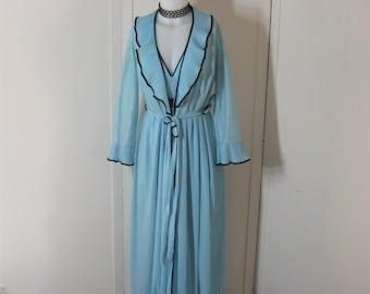 70s Vintage Peignoir Set Crystal Pleat Nightgown + Robe Aqua Blue + Black Pleated Full Length C&A European Label Boudoir Lingerie Bust 40 42