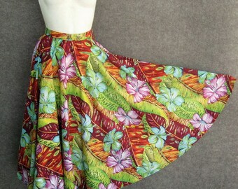 8d6c2300ff9 Vintage Circle Skirt Orchid Print Cotton 50s Style 1970s Skirt