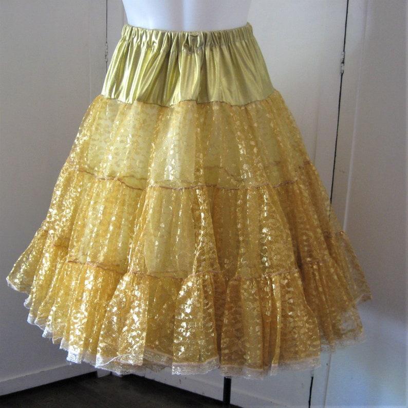 1a13ef980854 Crinoline Gold Lace & Lame Vintage Full Circle Skirt Slip | Etsy