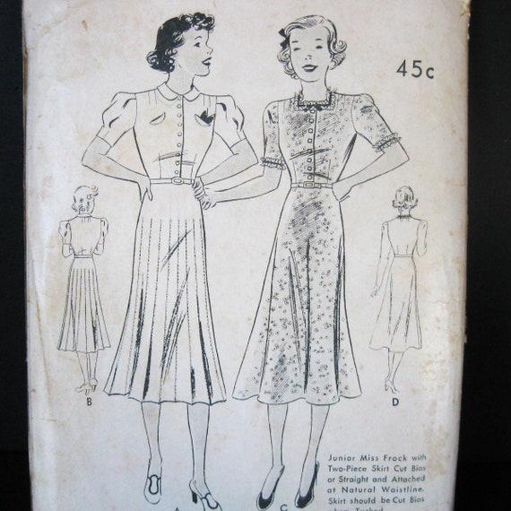 Unused 30s 40s Dress Pattern Vintage Butterick 7385 Straight Etsy