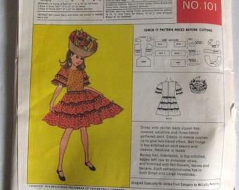 50s Vintage Chiquita Banana Costume Pattern McCall's 101 UNCUT Girl Child Dress & Fruit Hat, Spanish Lady, Carmen Miranda, Bust 24 25