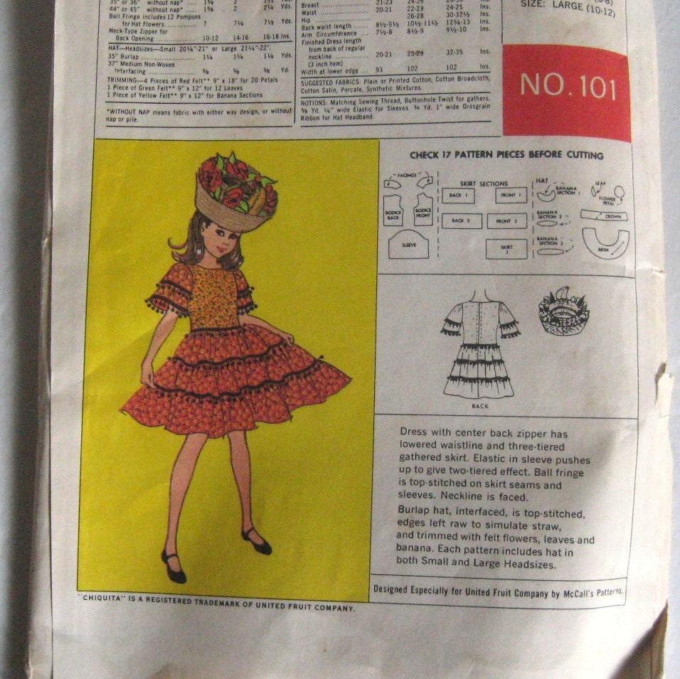 50s Vintage Chiquita Banana Costume Pattern McCall\'s 101