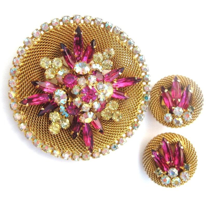 Mesh Woven Bracelet /& Clip On Earrings Crystal Rhinestone Set Vintage Costume Demi Parure