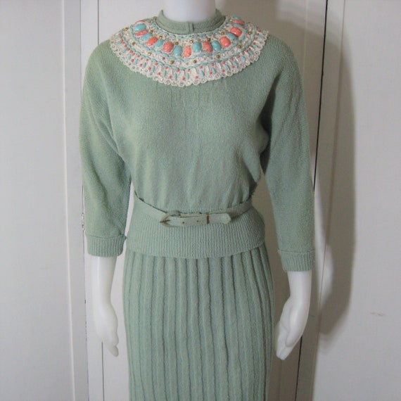 50s Beaded Sweater Suit Vintage Ribbed Knit Dress,