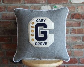 Custom Vintage Varsity Letter Memory Pillow - Made with YOUR Varsity Letter