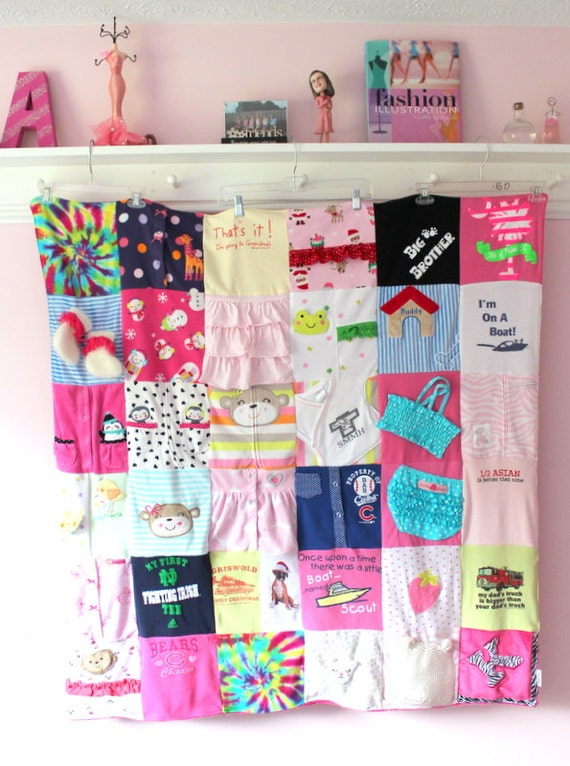Custom Baby Clothes Quilt Memory Blanket Memory Quilt Etsy