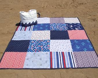 Oversized  Beach Blanket - Picnic Blanket - Family Beach Blanket - Nautical
