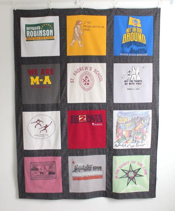 Diy Kit T Shirt Quilt Kit Blanket Kit 12 Block Red Black Brown Blue
