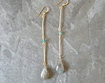 Barcino; Labradorite, Apatite and Gold Filled Wire Earrings