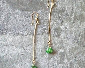 Bahia; Tsavorite and Gold Filled Wire Earrings
