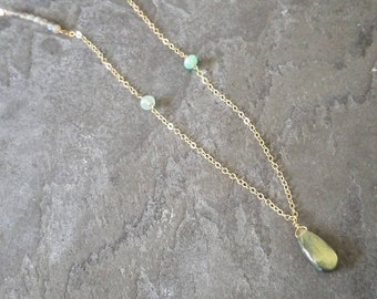 Clover; Andean Opal and Labradorite with Gold Filled Chain Necklace