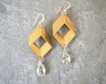 Cubism; Brass and Stone Earrings