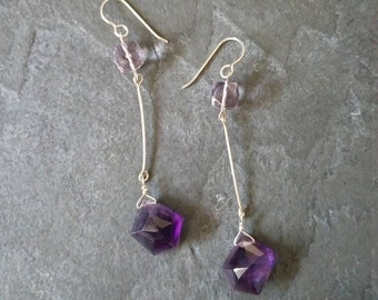 Violetta; Amethyst and Sterling Silver Earrings