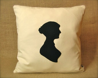 Jane Austen Silhouette Pillow Cover