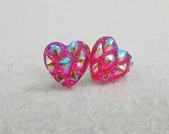 Bright Pink Sparkle Faceted Heart Earrings