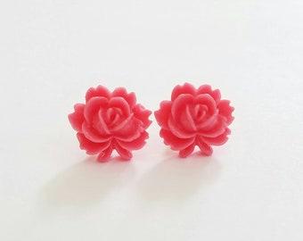 Flip Out Rose Beautiful Bloom Flower Earrings Pink