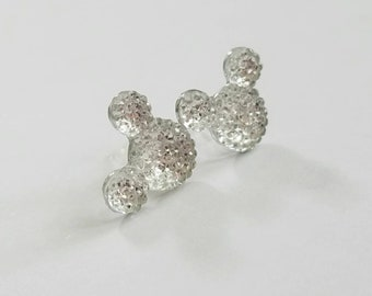 Sparkle Mouse Earrings in Crystal Clear Silver Sparkle
