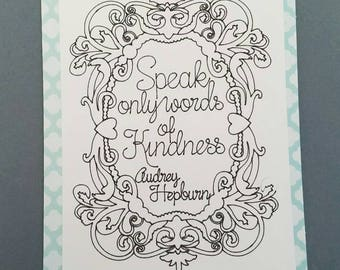 Friends Greeting Card Tree Coloring Card Kindness Audrey Hepburn