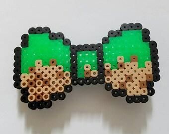 Minecraft Inspired Perler Bead Bow Hair Clip