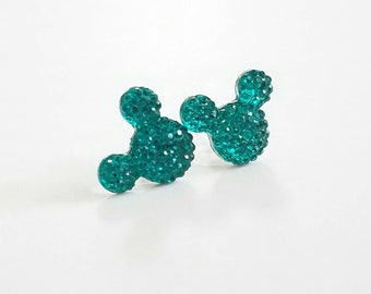 Sparkle Mouse Earrings in Turquoise