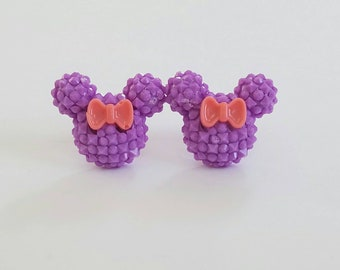 Sparkle Mouse with Bow Earrings in Purple