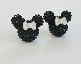 Sparkle Mouse with Bow Earrings in Black