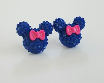 Sparkle Mouse with Bow Earrings in Navy Blue