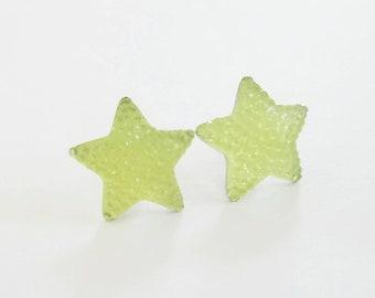 Sparkle Neon Star Earrings Yellow