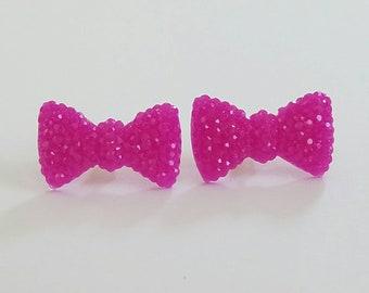 Sparkle Bow Earrings in Fuschia Pink Purple Sparkle