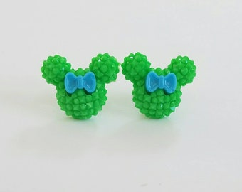 Sparkle Mouse with Bow Earrings in Lime Green