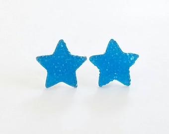 Sparkle Neon Star Earrings Blue