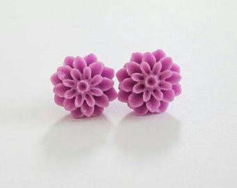 Chrysanthemum Beautiful Bloom Flower Earrings Purple