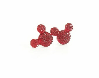 Sparkle Mouse Earrings in Ruby Red