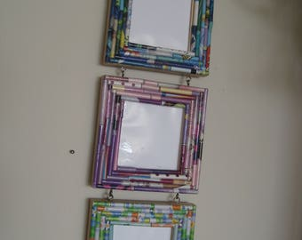 Picture frames, 3 square connected frames, hand made, great Holiday gift idea