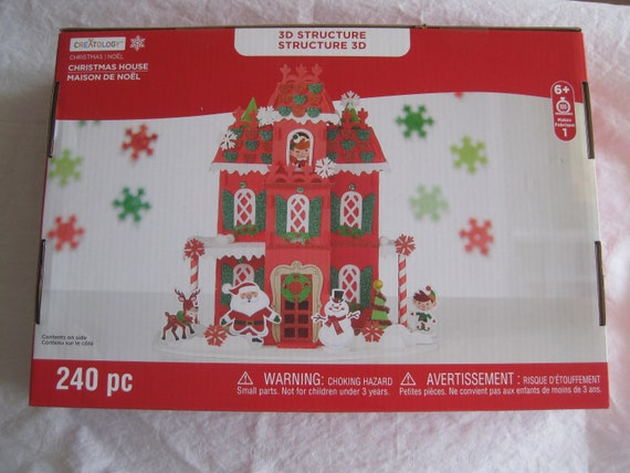 Christmas Craft Kit For Kids 3d Christmas House 240 Pc For Etsy