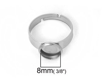 Stainless steel adjustable rings round cabochon settings (fits 8mm dia.) Hypoallergenic