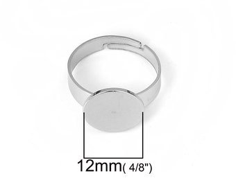 Stainless steel adjustable open glue-on rings round 12mm settings - Hypoallergenic