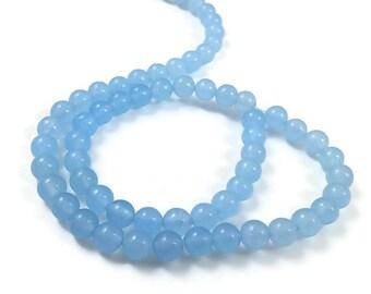 Blue Natural Quarz Round Stone Beads Strands 6mm