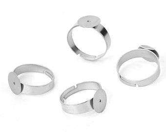 Stainless steel adjustable open glue-on rings round 8 or 10mm settings - Hypoallergenic