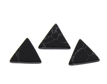 17mm black turquoise triangle resin cabochons - set of 10 cabochons