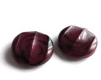 Cranberry and black plastic sewing buttons - set of 2 vintage shank buttons 27mm