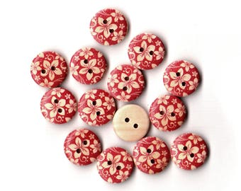 12 Flower Wood Painting Sewing Buttons Red and Natural 15mm