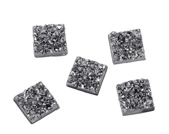 12mm silver and black druzy square resin cabochons - set of 10 cabochons