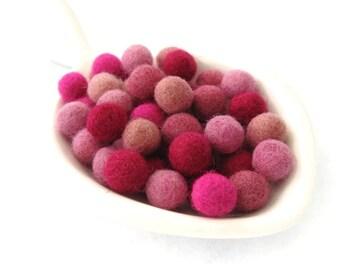Felt Balls Pinky Pink Color Mix - 50 Pure Wool Beads 10mm felt balls