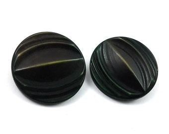 Brown and green plastic sewing buttons - set of 2 vintage shank buttons 27mm