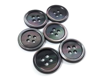 Mother of Pearl Shell Buttons 15mm - set of 6 eco friendly grey buttons