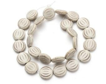White Turquoise Stone Beads 1/2 Strand 15mm Rondelle
